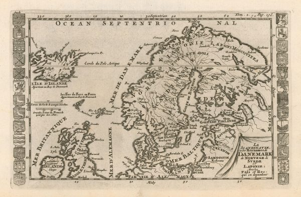 Antique map of Scandinavia and Iceland from 1702