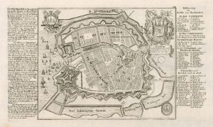 Decorative map of Copenhagen by Gabriel Bodenehr from his Force d'Europe